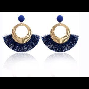 Jewelry - 👑Big Circle Gold/BLUE Tassel Dangle Earrings👑